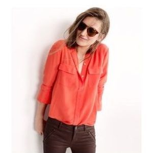 MADEWELL SILK CARGO TOP IN CORAL RED